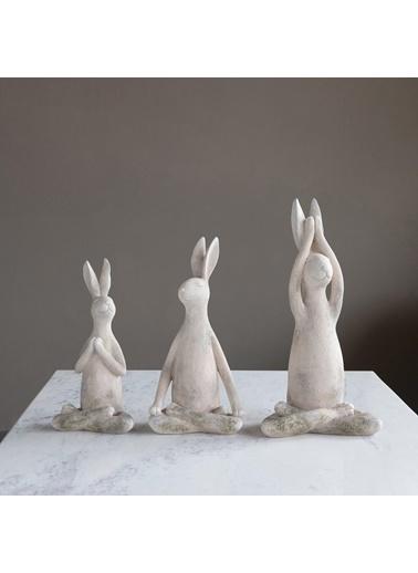 Warm Design Dekoratif Yoga Yapan Tavşan Beyaz